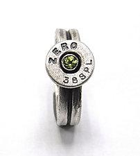 Peace Fire Peridot Bullet Ring by Alexan Cerna and Gina  Tackett (Silver, Brass & Stone Ring)