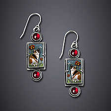 Calico Cat Earrings by Dawn Estrin (Silver Earrings)