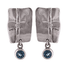 MiniGrid Linen Earrings by Diana Widman (Silver & Stone Earrings)