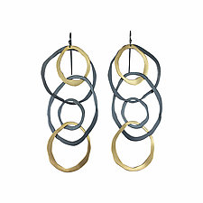 Large Jumble Earrings in Gold and Silver by Lisa Crowder (Gold & Silver Earrings)