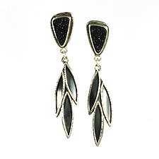 Black Druzy Leaf Drop Earrings by Vickie  Hallmark (Silver & Stone Earrings)