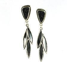 Black Druzy Leaf Drop Earrings by Vickie  Hallmark (Silver & Stone Earrings)