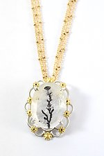 Queen Anne's Lace Cameo Necklace by Bethany Montana (Gold, Silver & Stone Necklace)