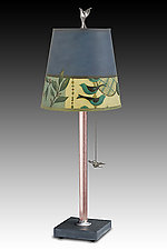 Copper Table Lamp with Small Drum Shade in New Capri Periwinkle by Janna Ugone and Justin Thomas (Mixed-Media Table Lamp)