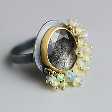 Black Rutile with Opal Fringe Ring by Wendy Stauffer (Gold, Silver & Stone Ring)
