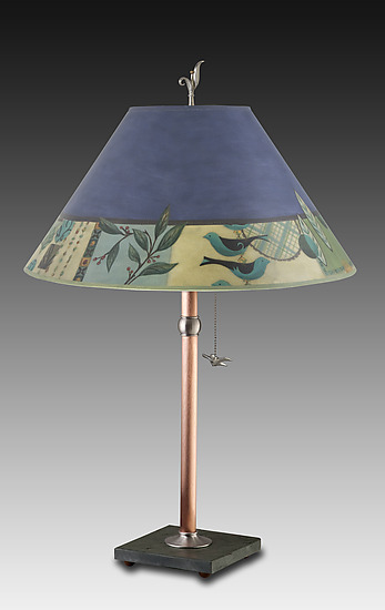 Copper Table Lamp with Large Conical Shade in New Capri Periwinkle