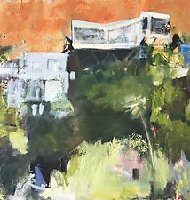 Houses on the Hill by Suzanne DeCuir (Oil Painting)