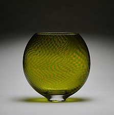 Amber and Green Striped Murrini by James Friedberg (Art Glass Vase)