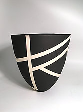 Bold Black and White Contour Vase I by Jean Elton (Ceramic Vase)