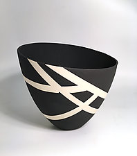 Bold Black and White Contour Vase II by Jean Elton (Ceramic Vase)