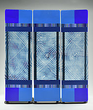 Impact ColorCentric Indigo Totem Triptych by Terry Gomien (Art Glass Sculpture)