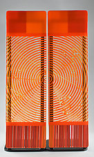Impact  ColorCentric Orange Totem Diptych by Terry Gomien (Art Glass Sculpture)