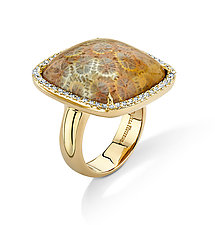 Cushion-Cut Coral Ring by Pamela Huizenga  (Gold & Stone Ring)