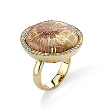 Round Coral Ring by Pamela Huizenga  (Gold & Stone Ring)