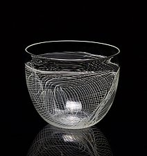 Light Gray Folded Web Bowl by James Friedberg (Art Glass Bowl)