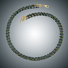 Green Hematite Necklace by Judy Bliss (Gold & Stone Necklace)