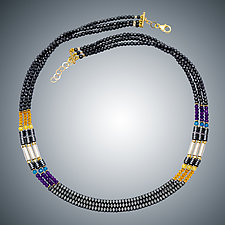 Hematite, Amethyst, and Gold Quartz Necklace by Judy Bliss (Gold & Stone Necklace)