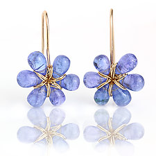 Tanzanite Flower Dangles by Wendy Stauffer (Gold & Stone Earrings)
