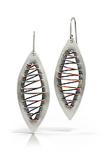 Sewn Leaves Earrings by Susie Aoki (Silver & Copper Earrings)