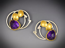 Lilac Earrings 2 by Judith Neugebauer (Gold, Silver & Stone Earrings)