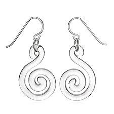 Small Flat Spiral Earrings by Roxann Slate (Art Glass Earrings)