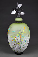 Izrazi Zivota (Expressions of Life) Satin Fern Abstract by Eric Bladholm (Art Glass Vessel)