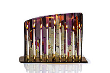 Sunrise-Sunset Menorah by Varda Avnisan (Art Glass Menorah)