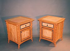 Carved Cherry Side Cabinet by John Wesley Williams (Wood Cabinet)