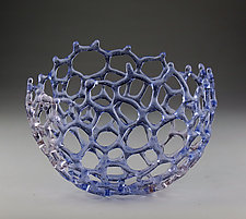 Mottled Lavender Basket by Bandhu Scott Dunham (Art Glass Sculpture)