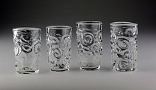 Sculpted Shotglass Set by Bandhu Scott Dunham (Art Glass Drinkware)