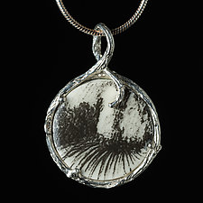 Reversible Porcelain and Sterling Silver Circle Pendant with Field and Trees by Diana Eldreth (Ceramic Necklace)