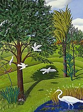 Birds in Landscape by Jane Troup (Giclee Print)