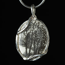 Reversible Porcelain and Sterling Silver Oval Pendant with House and Trees by Diana Eldreth (Ceramic Necklace)