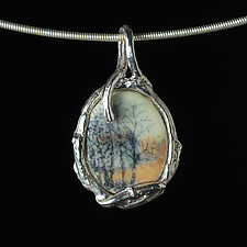 Small Reversible Porcelain and Sterling Silver Oval Pendant with House and Trees by Diana Eldreth (Ceramic Necklace)