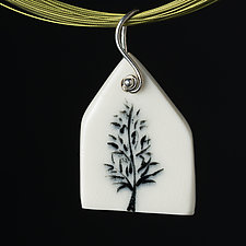 Porcelain House Pendant with Black Tree by Diana Eldreth (Ceramic Necklace)