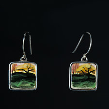 Porcelain and Sterling Silver Earrings with Mysterious Tree by Diana Eldreth (Ceramic Earrings)