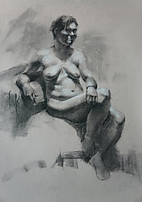Female Nude in Charcoal by Cathy Locke (Charcoal Drawing)