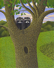 Raccoons in Tree by Jane Troup (Giclee Print)