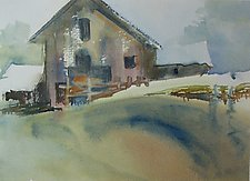 Barn on the Hill by Alix Travis (Watercolor Painting)