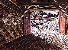 Green River Bridge by William Hays (Linocut Print)