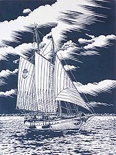 Full Sail by William Hays (Linocut Print)
