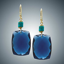 Blue Quartz and Turquoise Earrings by Judy Bliss (Gold & Stone Earrings)