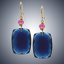 Blue and Pink Quartz Earrings by Judy Bliss (Gold & Stone Earrings)