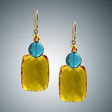 Gold Quartz and London Blue Quartz Earrings by Judy Bliss (Gold & Stone Earrings)
