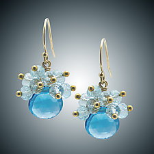 Blue Topaz Earrings by Judy Bliss (Gold & Stone Earrings)