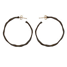 Black Organic Hoop Earrings by Julie Cohn (Bronze Earrings)