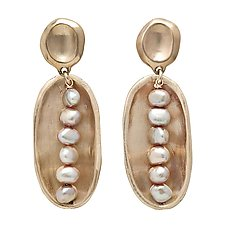 Lega Pink Pearl Earrings by Julie Cohn (Bronze & Pearl Earrings)