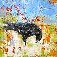 Crow Looking Right by Janice Sugg (Oil Painting)