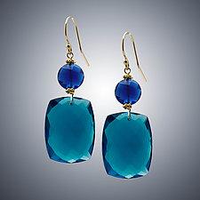 London Blue Quartz and Blue Quartz Earrings by Judy Bliss (Gold & Stone Earrings)