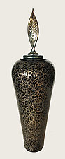 Lidded Graffito Vessel by Minh Martin (Art Glass Vessel)